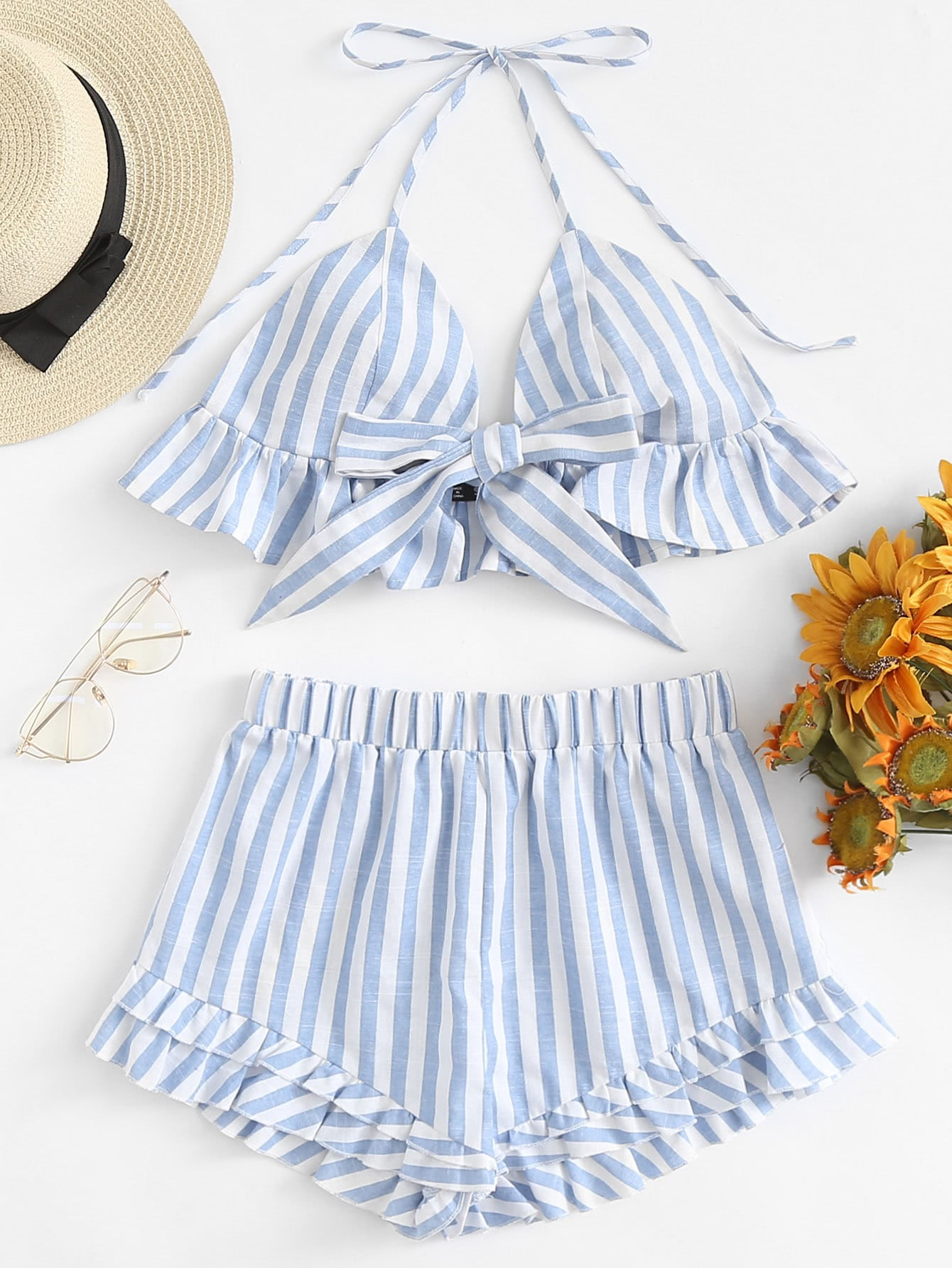 Knot Front Striped Halter Top & Tiered Hem Shorts Set asymmetrical hem knot back halter top