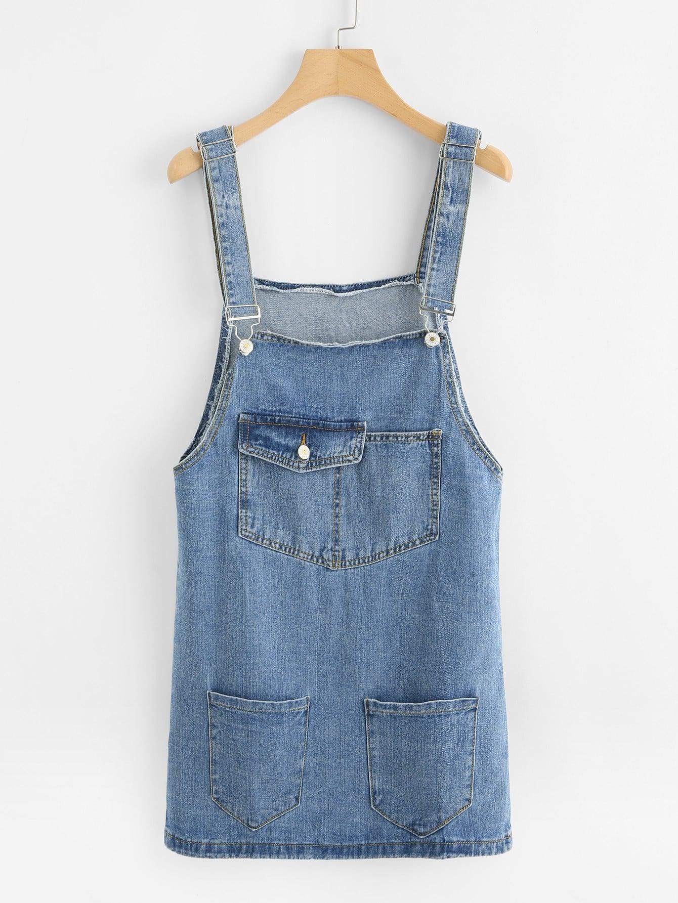 Джинсовое платье с карманом на животе