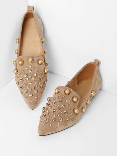 Faux Pearl Pointed Ballet Flats