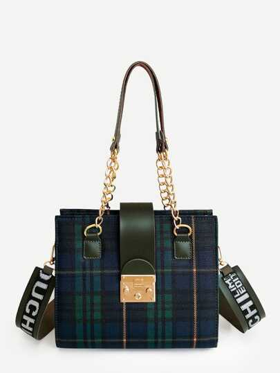 Plaid Shoulder Bag With Letter Print Strap