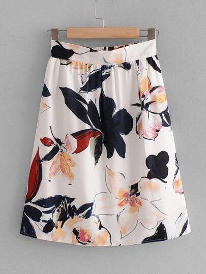 Ink Painting Florals Skirt