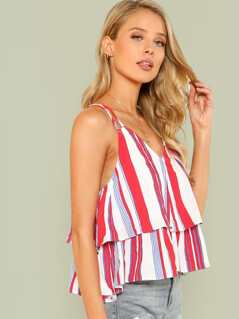 Double Layered Striped Crop Top RED BLUE