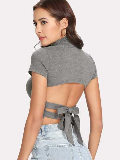 Tied Open Back Fitted T-shirt