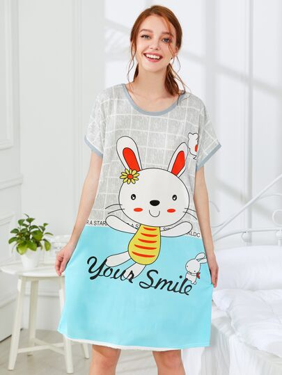 Rabbit Print Nightdress