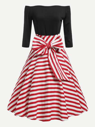 Off Shoulder Knotted Front Striped Combo Dress