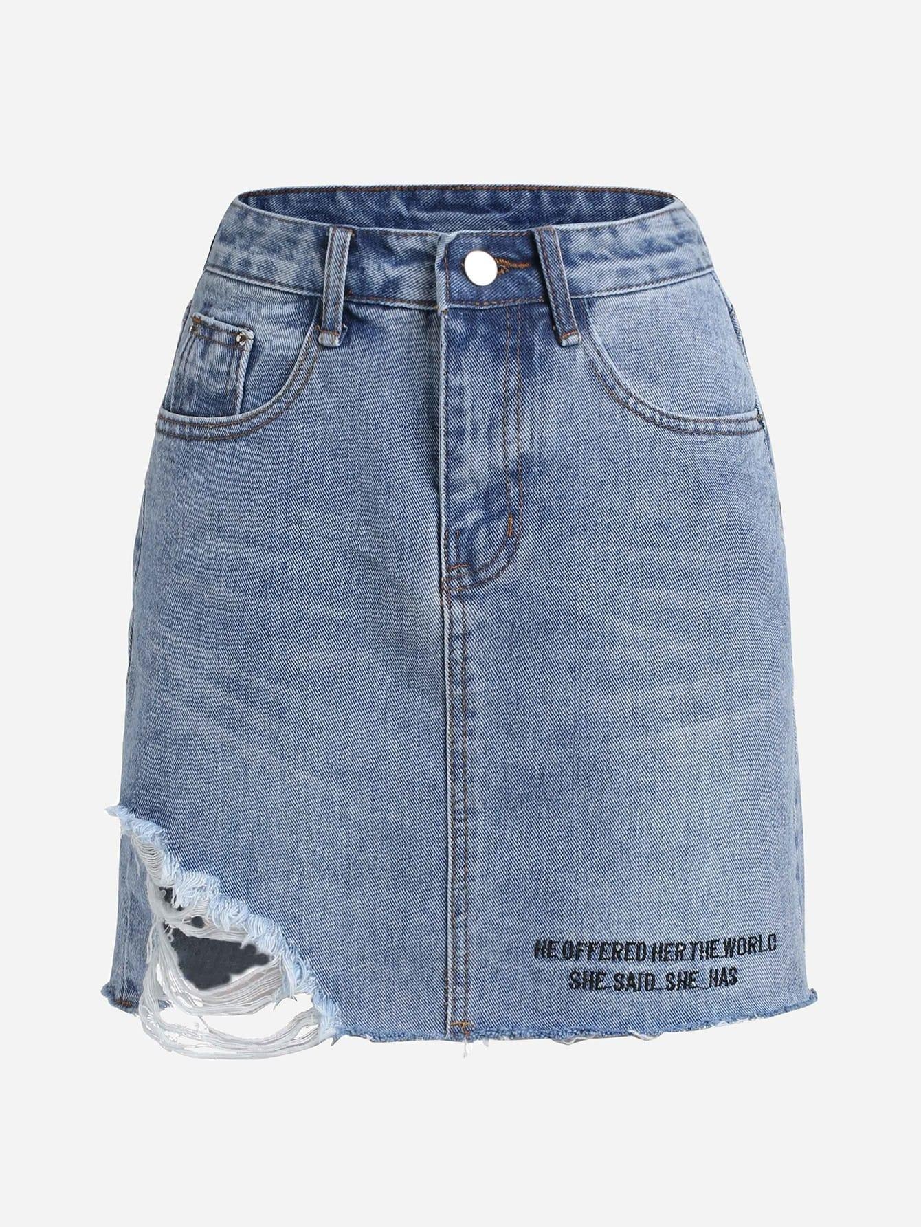 Letter Print Raw Hem Ripped Denim Skirt
