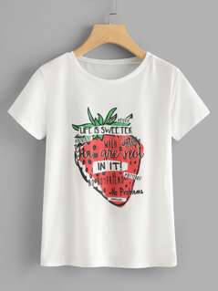 Letter And Sweetberry Print Tee