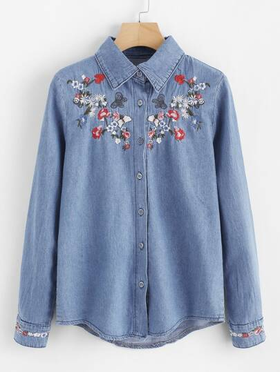 Botanical Embroidered Denim Shirt