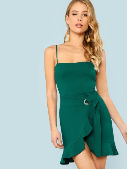 Ruffle Trim Spaghetti Strap Wrap Dress GREEN