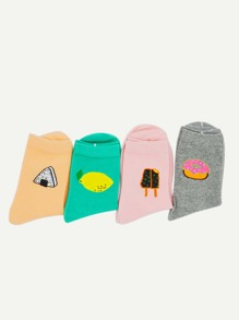 Cartoon Pattern Ankle Socks 4pairs