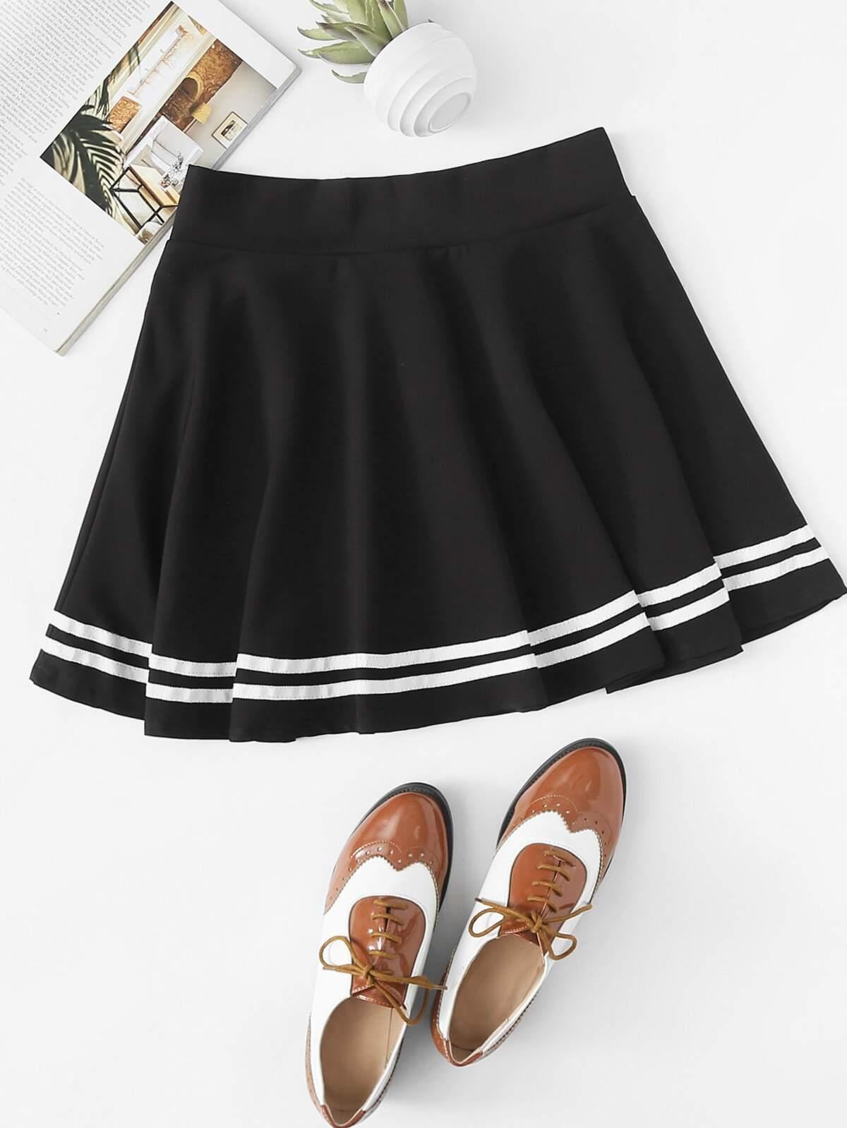 Varsity Striped Zipper Back Skirt by Romwe