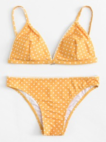 Polka Dot Print Triangle Bikini Set