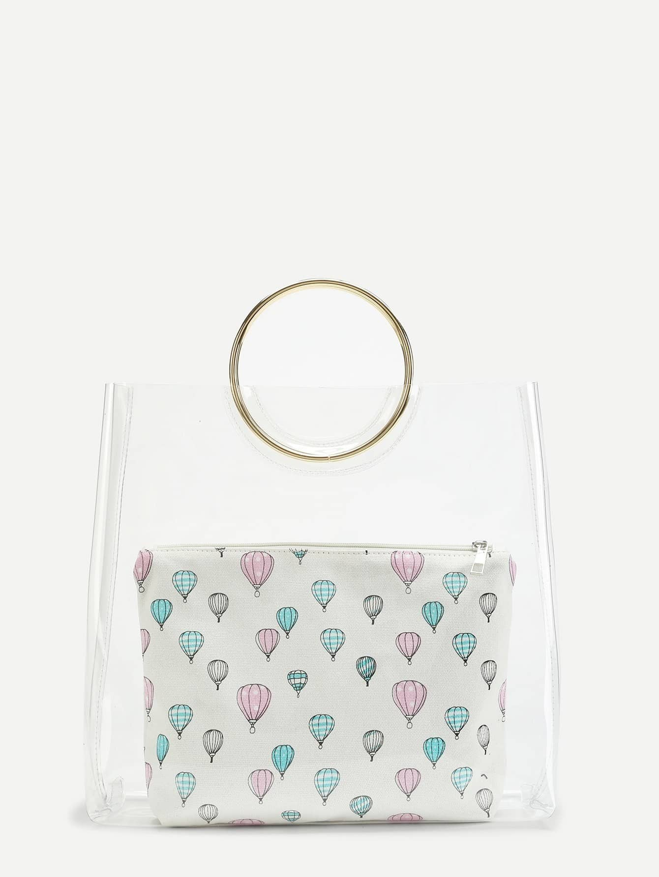Double Ring Handle Clear Bag With Inner Clutch woven bag with double handle