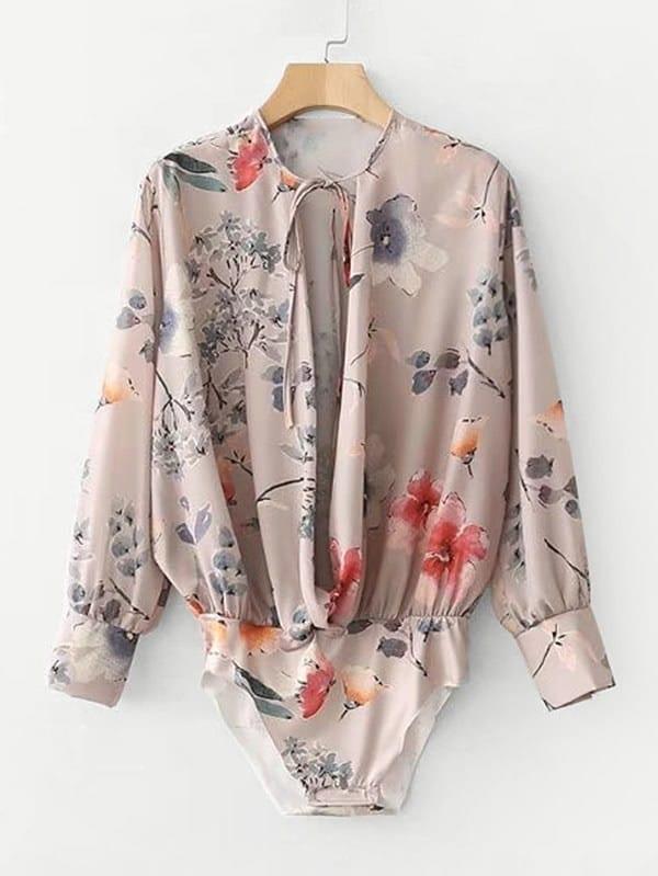 Random Florals Tie Neck Blouse Bodysuit все цены