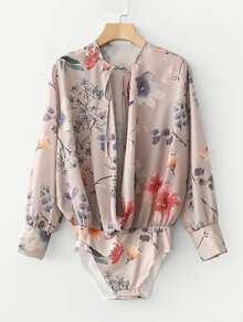 Random Florals Tie Neck Blouse Bodysuit