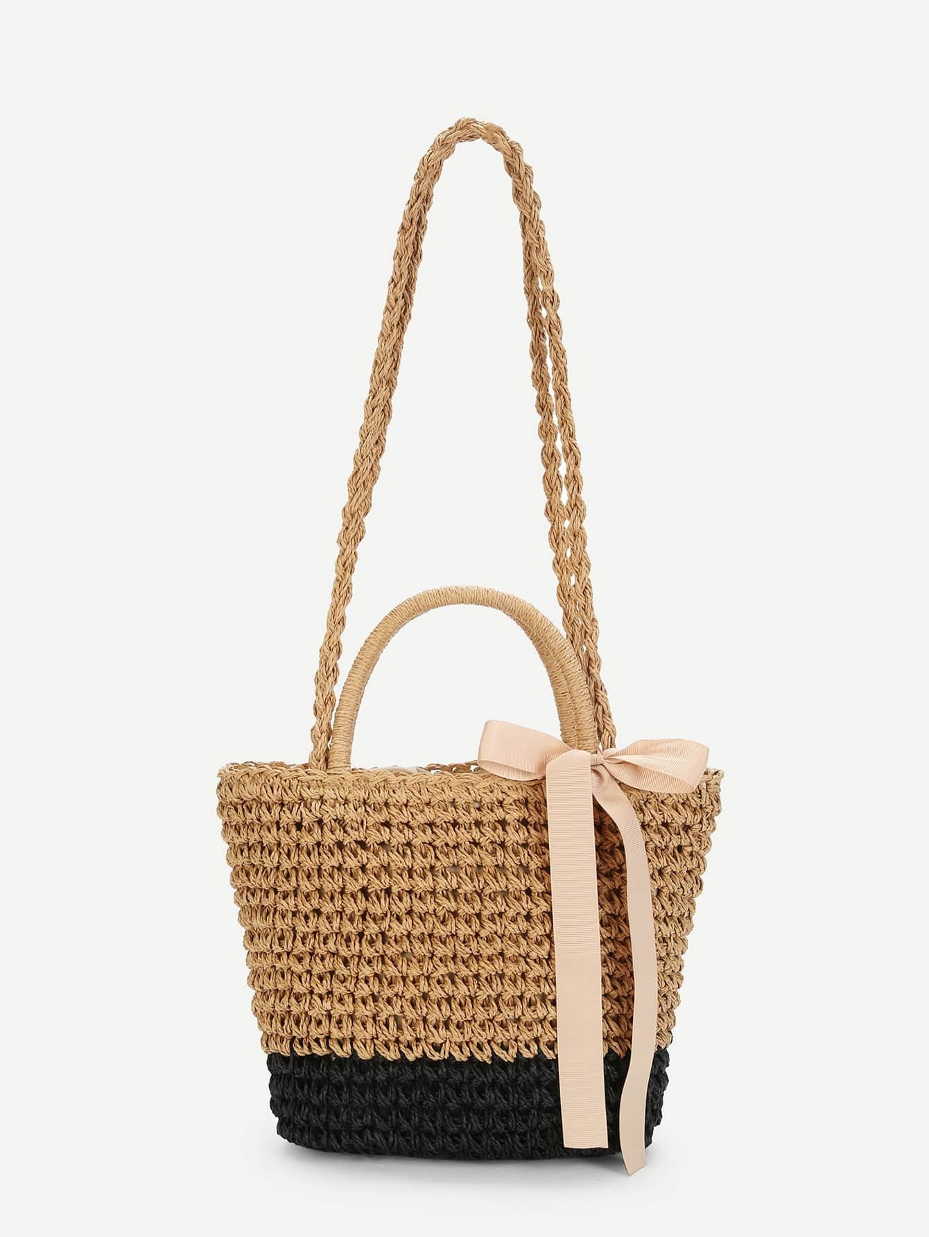 bow decorated straw bag emmacloth women fast fashion online. Black Bedroom Furniture Sets. Home Design Ideas