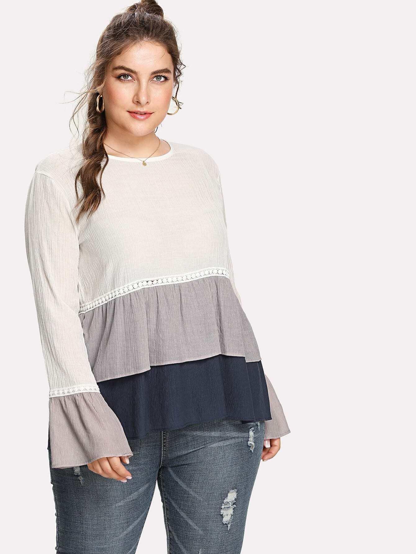 Contrast Lace Layered Ruffle Hem Top
