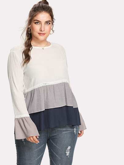 Contrast Lace Layered Ruffle Hem Top