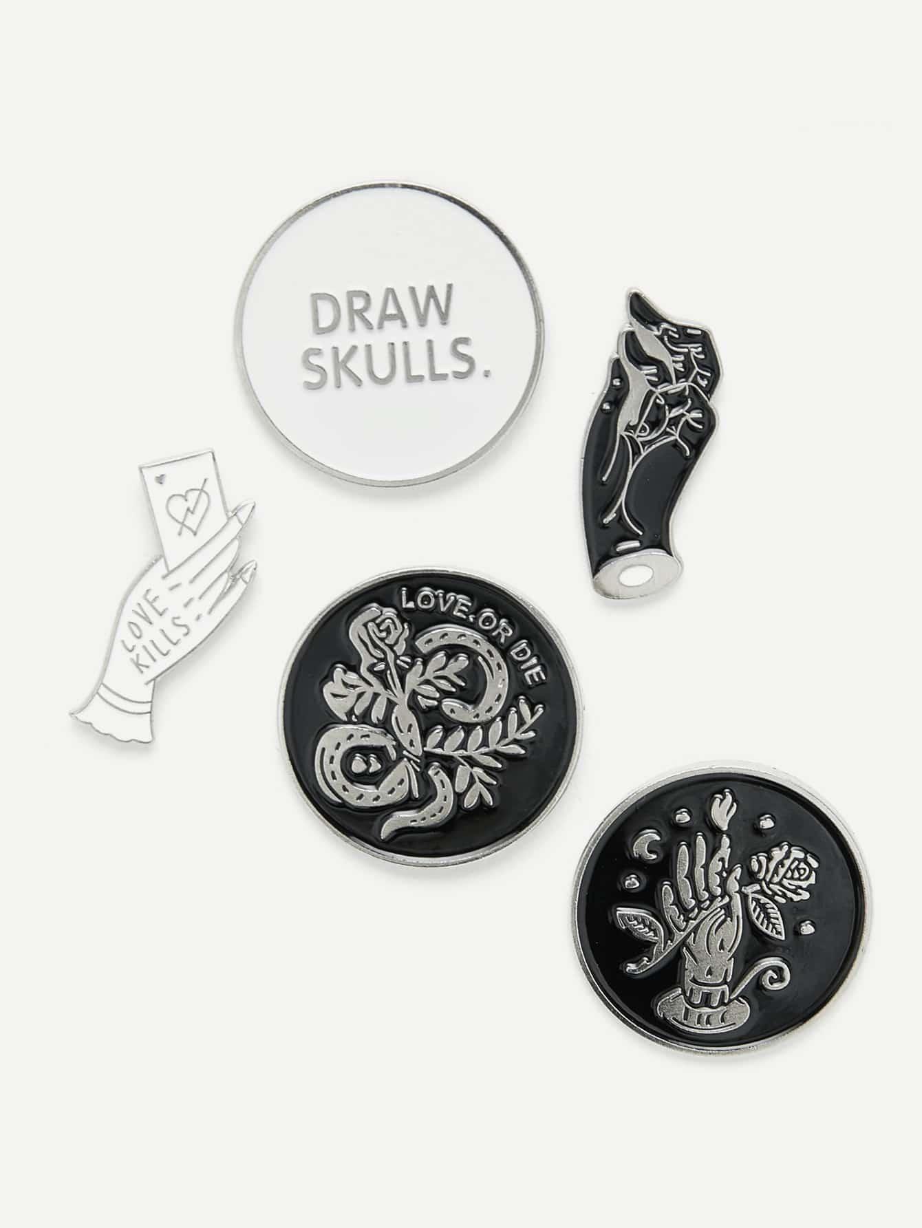 Hand & Round Design Brooch Set fashion girls pet hand bag brooch set