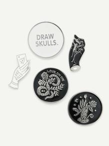 Hand & Round Design Brooch Set