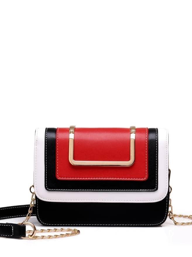 Metal Handle Colorblock Crossbody Bag