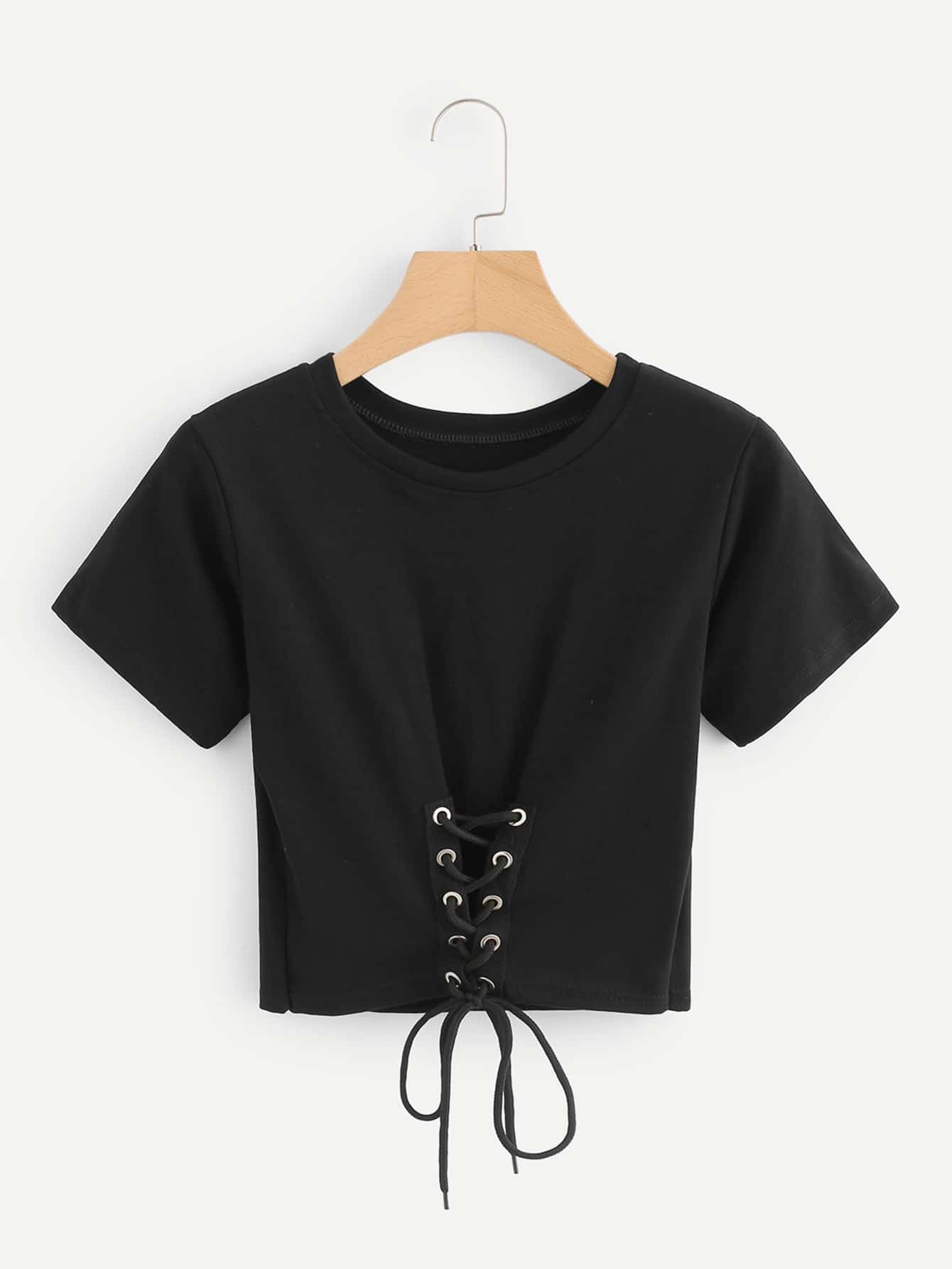 Eyelet Lace Up Crop Tee