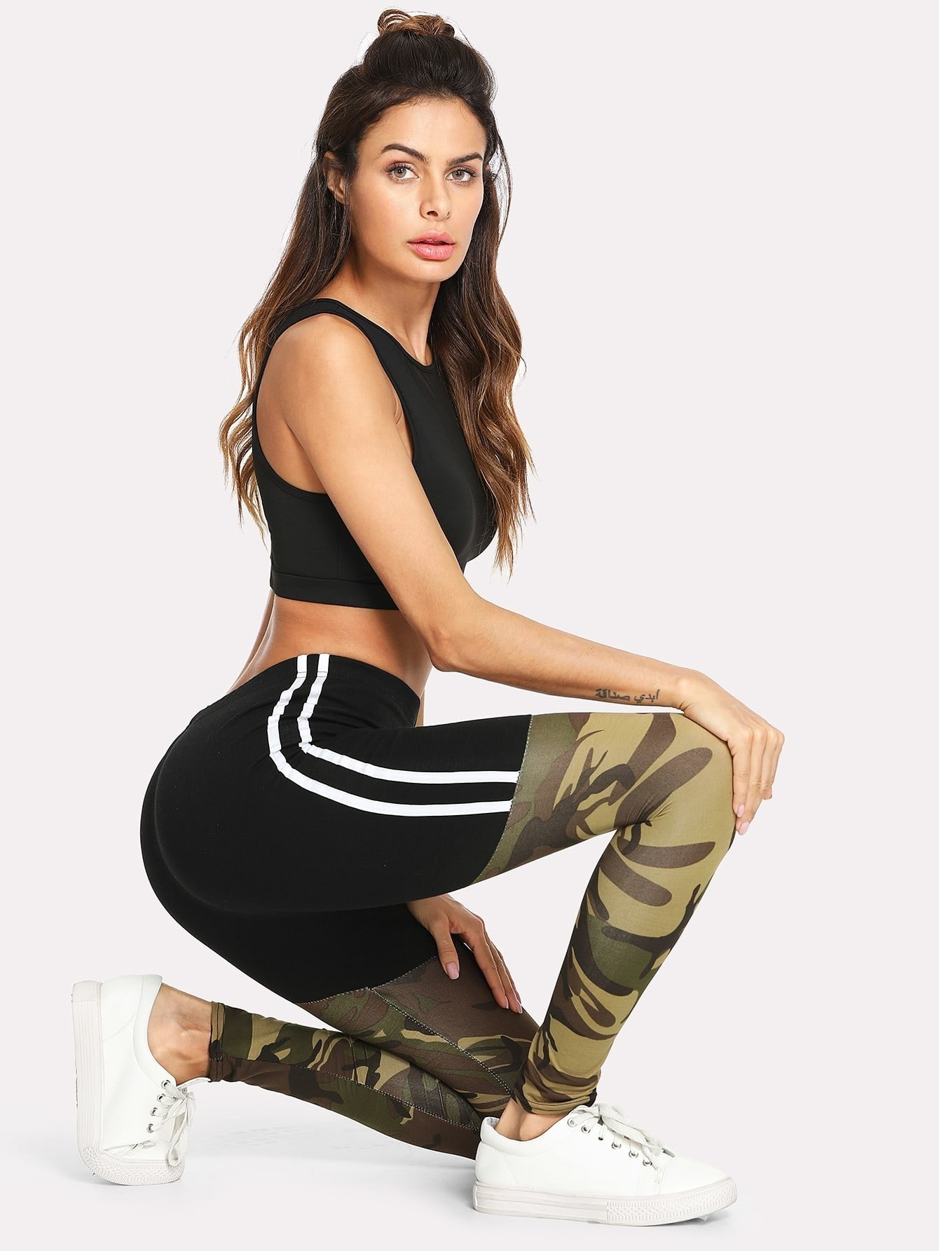 Tape Side Camo Print Leggings