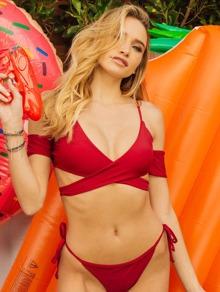 Tie Side Criss Cross Knot Back Bikini Set