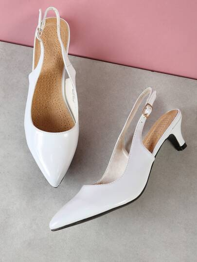 Patent Pointy Toe Sling Back Pump WHITE