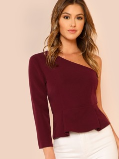 Solid One Shoulder Peplum Top