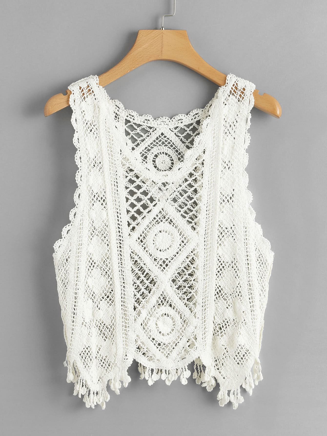 Fringe Trim Crochet Tank Top crochet trim tunic tank top