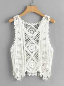 Fringe Trim Crochet Tank Top