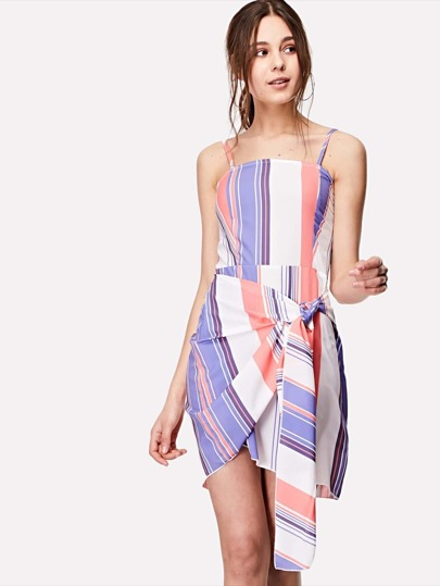 Shirred Back Knot Front Striped Dress