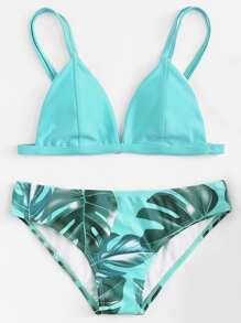 Palm Print Double Straps Bikini Set