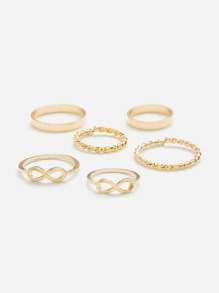 Number & Woven Design Ring Set 6Pcs