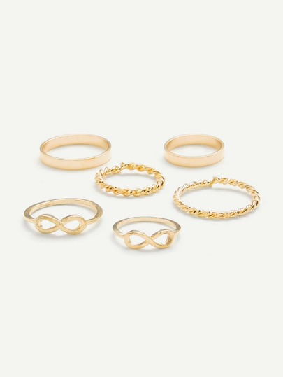 Number & Woven Design Ring Set 6Pcs