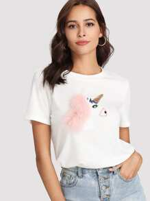 Faux Fur And Sequin Embellished Embroidery Unicorn Tee