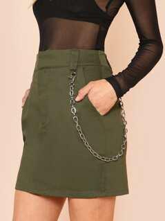 Denim Mini Skirt with Chain Detail OLIVE