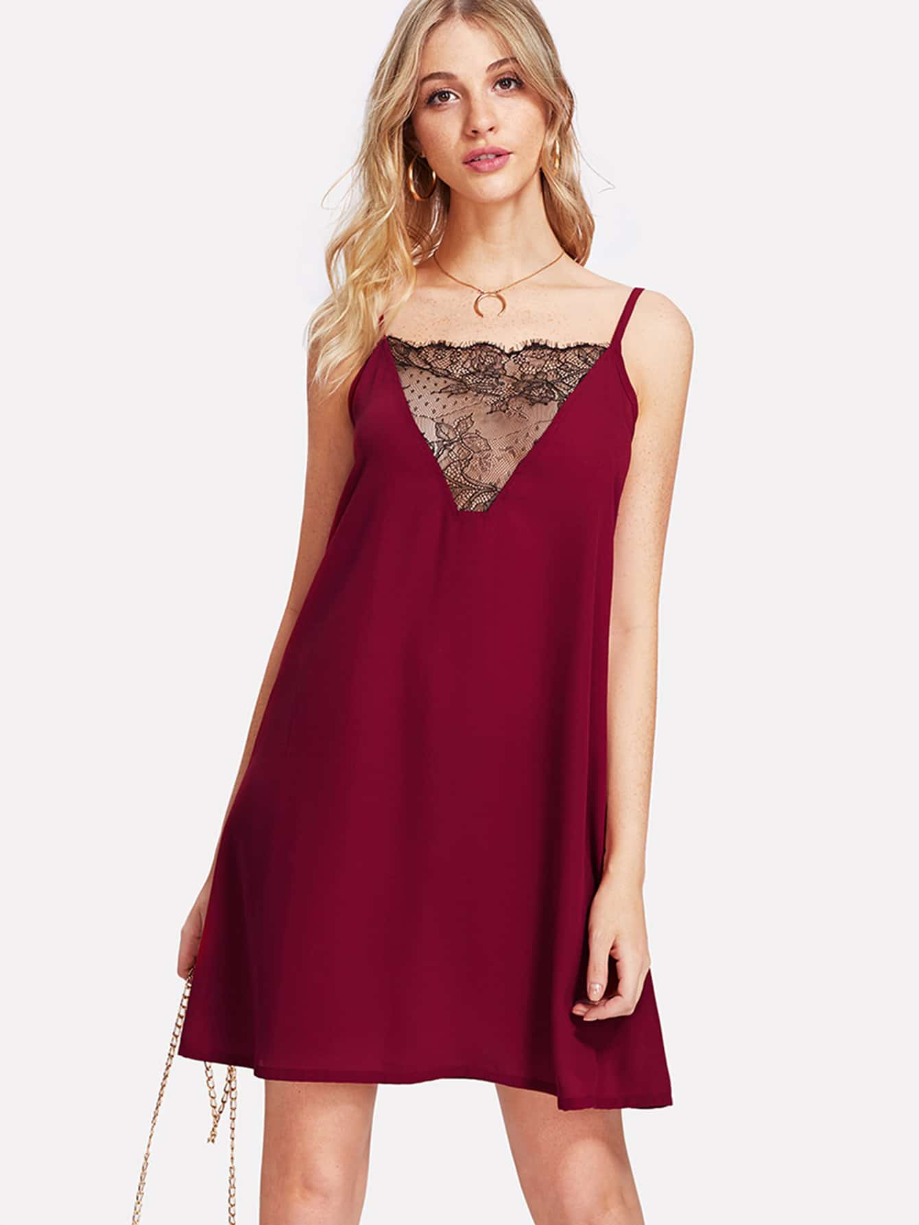 Lace Insert Cami Dress lace insert fit