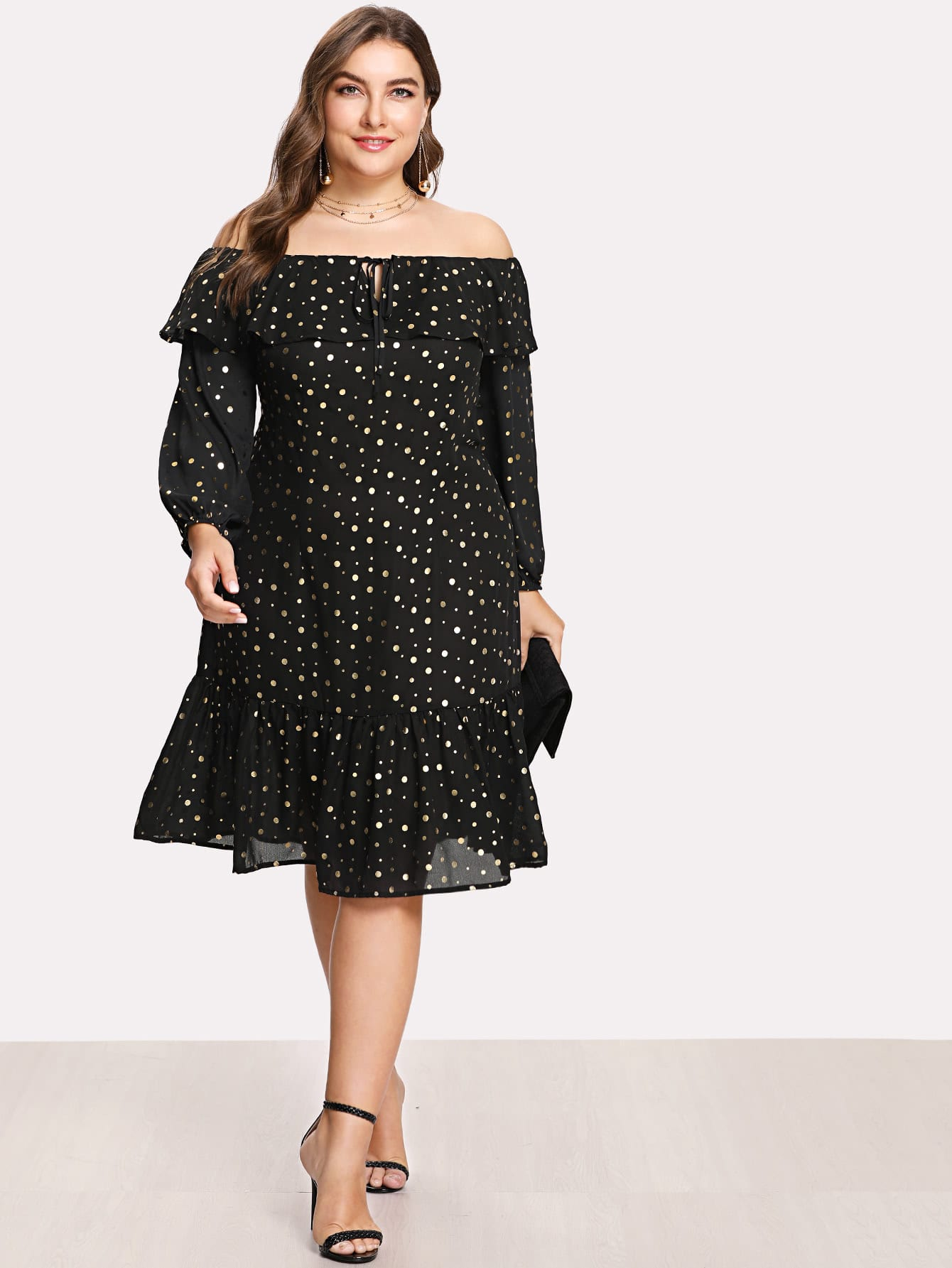 Knot Front Flounce Trim Polka Dot Bardot Dress flounce one shoulder polka dot dress