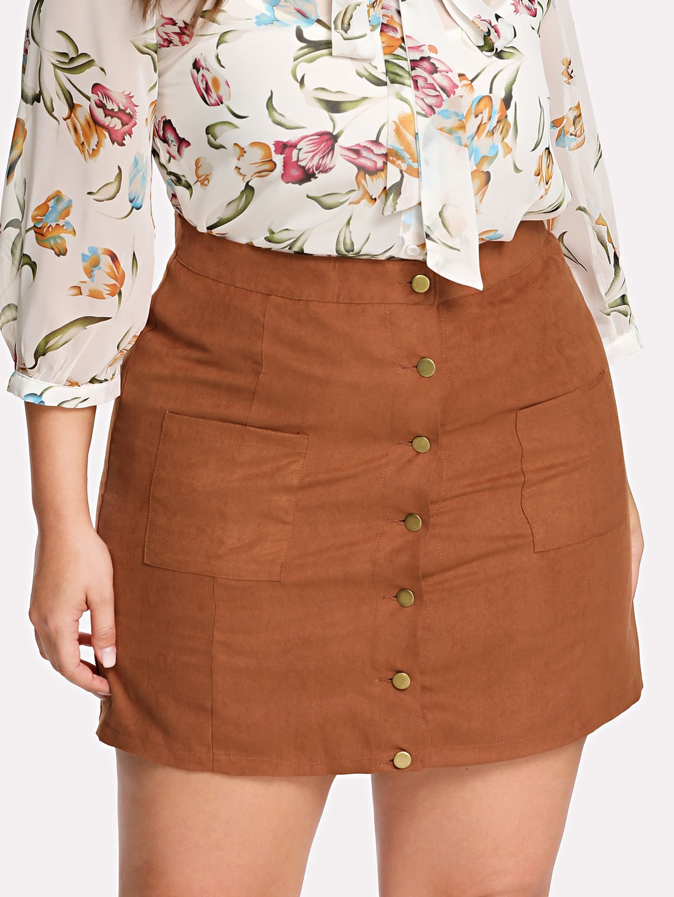 Button Up Front Pocket Patched Skirt high waist pocket patched dot skirt