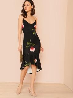 Mermaid Hem Floral Print Dress BLACK