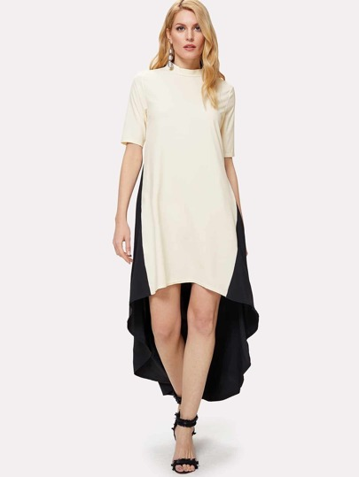 Cut & Sew Dip Hem Dress
