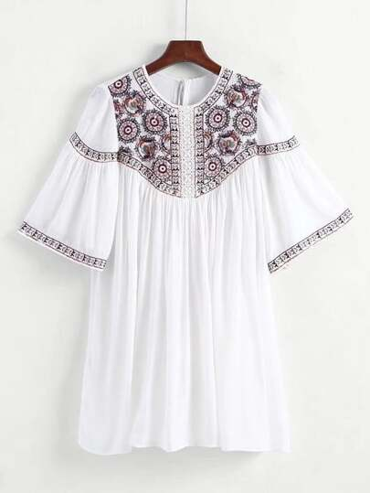 Guipure Lace Panel Tassel Tie Back Embroidery Dress