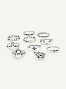 Crown & Hollow Design Ring Set 10Pcs