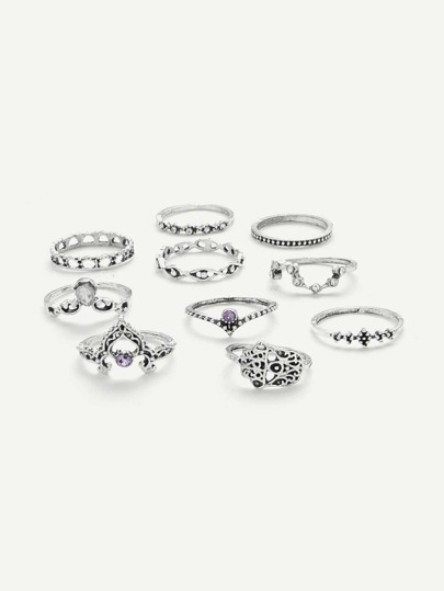 Crown & Hollow Design Ring Set 10Pcs