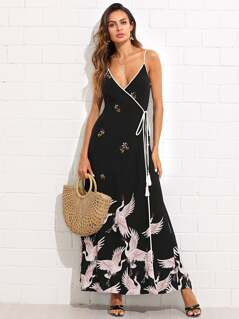Crane Bird Print Contrast Binding Wrap Cami Dress