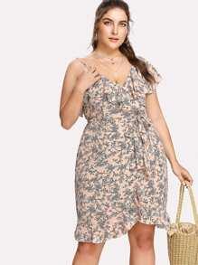Asymmetric Flounce Trim Floral Wrap Dress