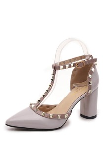 Studded Decorated PU Block Heeled Sandals