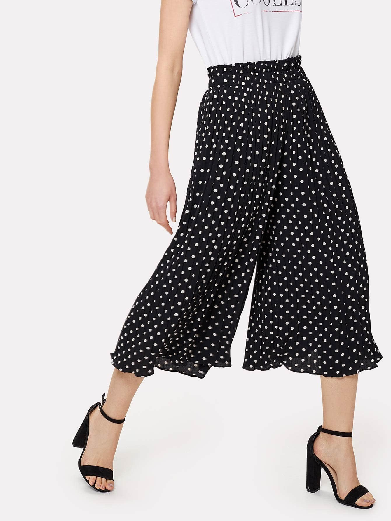 Polka Dot Print Wide Leg Pants все цены